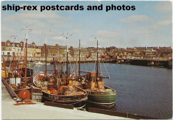 Wick harbour (Caithness) & fishing boats, postcard